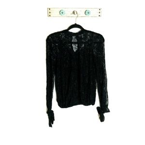 William Rast S Black Shell with Lace Overlay Top